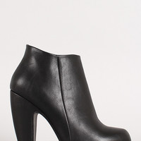 Chunky Heel Round Toe Ankle Bootie