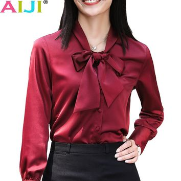 winter women chiffon shirts OL bow tie office long sleeve chiffon blouses ladies elegant work wear clothes slim tops