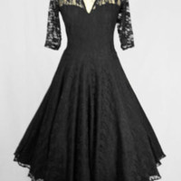 Baylis & Knight Black Lace Sweetheart CIRCLE Princess Kate Middleton 3/4 Sleeve Flared Skirt Ball Gown Dress 50's Retro Pin Up