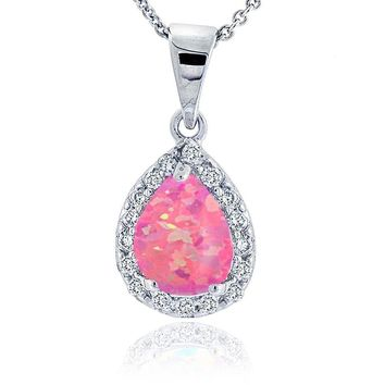 Sterling Silver Lab Created Pink Opal & Cubic Zirconia Teardrop Necklace