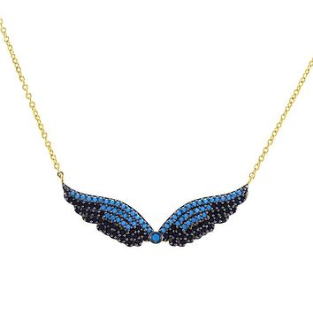Natesan Black and Turquoise Angel Wing Pendant Necklace