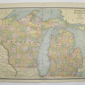 Antique Michigan Map Wisconson Upper Peninsula Map 1887 Vintage Map, US Geography Art, Indiana Map Illinois State Map, Unique Office Gift