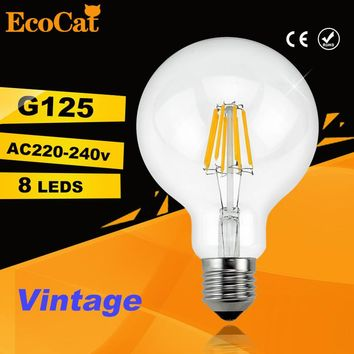 led G125 Edison Bulb Big light bulb 2W 4W 6W 8W filament led bulb E27 clear glass indoor lighting lamp AC220V vintage retro lamp