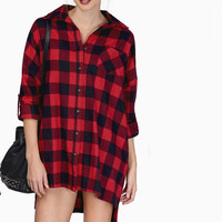 Red And Black Checkered Collared Button Long Sleeves Loose Blouse