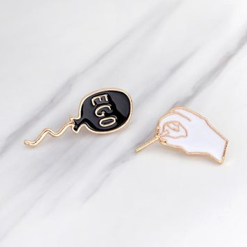 Cartoon Funny Hand Pop your EGO Balloon Pins Metal Enamel Black White Brooch Pins for Clothes Denim Jacket Bag Badge Jewelry