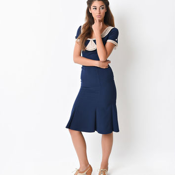 Stop Staring! 1930s Style Navy & Ivory Railene Dress