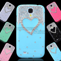 Cute Bling Hard Cover Case For Samsung Galaxy S4 SIV I9500 Silver Heart Diamond