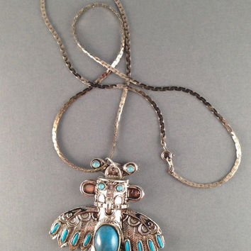 Vintage Turquoise and Silver Indian God Pendant by Oldtonewjewels