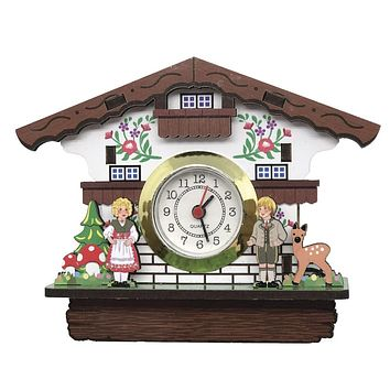 3-D Kitchen Magnet of Alpine German House with Real Clock
