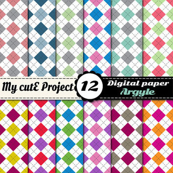 Digital Paper Argyle, diamond Colorful | Scrapbooking | 12x12 - A4 | Green, blue, red, plum, pink, yellow, brown, orange