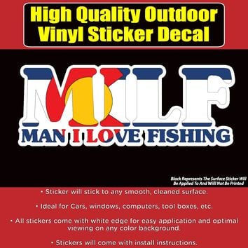 M.I.L.F. Funny Fishing Colorado Flag Vinyl Car Window Laptop Bumper Sticker decal