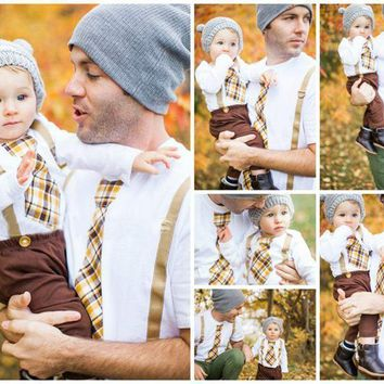 Flash Sale!!! What A Little Gent! Short Sleeve Bodysuit With Digital Plaid Tie And Suspenders