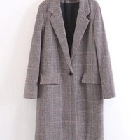 Single Button Longline Plaid Blazer -SheIn(Sheinside)