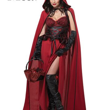 MOONIGHT Sexy Little Red Riding Hood Costume Party adult Small Red Cap cosplay Dress 2017 New clothing Halloween for Women