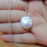 Sterling Silver Freshwater Cultured Coin Pearl Necklace Wire Wrapped Pearl Necklace Bridal Dainty Necklace June Gift Idea