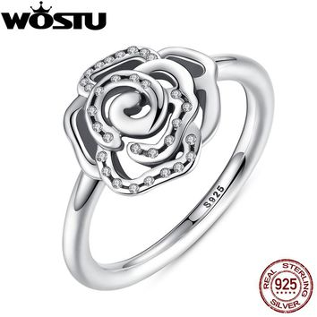 Brand Shimmering Delicate Rose Flower Ring with Clear CZ Ring Original 100% 925 Sterling Silver Jewelry SDP7138