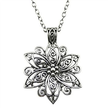 WYSIWYG Fashion Simple Antique Silver Color 66x47mm Big Flower Pendant Necklace , 70Cm Chain Long Necklace Suppliers