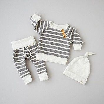 Gray cotton Newborn Baby Girls Clothes Striped Tshirt Tops Pants Leggings hat Outfit 3PCS Baby Clothing Set for infant kid boy