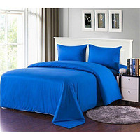 Tache 4 Piece Solid Deep Blue Comforter Set With Zipper (TA3-4PCOM-W/Zip-Blue-CK)