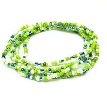 Stretch Bracelet Set of Five, Green Blue and White, Seed Bead Stretchy Jewelry, Free North American Shipping