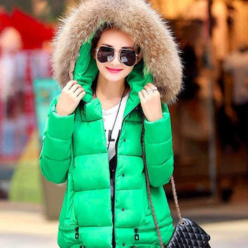 Jacket Coat Women Cotton Down Parkas With Large Fur Collar Hood Thick Coat Outwear 6 Colors 2015 New Winter Plus L - 3XL = 1931614468