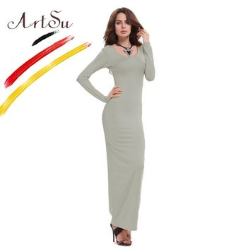 ArtSu Basic Cotton Women Maxi Dress Vestidos New Winter Long Dress Casual Vestido Ladies Slim Dresses Robe ASDR20247