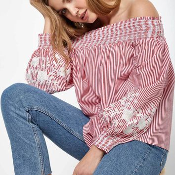 Off The Shoulder Embroidered Pinstripe Blouse
