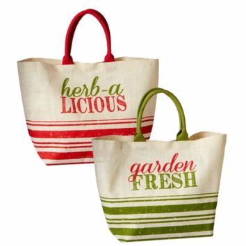 Farmer's Market Garden Jute Shopping Tote Bag - 22-in