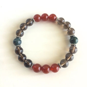 Healing of Depression ~ Genuine Bloodstone, Carnelian & Smokey Quartz Bracelet w/ Sterling Silver Celtic Spacers and Bali Caps
