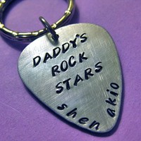 Custom Dad's Guitar Pick Keychain Handstamped  - Custom Hand Stamped Keychain personalized for you - perfect for Father's Day - Handmade Crafts by Thirty-One Shekels