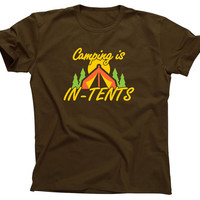 Camping is In-Tents fun when Intense Life's S'more camp Shirt T-Shirt Mens Ladies Womens Youth Kids Funny Geek Camping Hiking fire ML-416