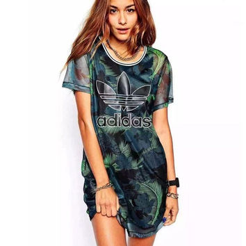 "shosouvenir : ""Adidas"" Fashion Green Leaves Feather Movement Leisure Round Neck Short Sleeve T-shir Dress"