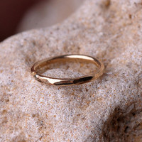 NOSE RING / Ear / Cartilage / Helix hoop 6mm inner diameter textured 14K yellow gold filled. Handcrafted