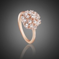 Fashion Plaza 18k rose Gold Plated Use Austrian Multi-Crystal Engagement Spark Ring R40 Size 6