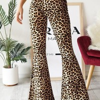 New Brown Leopard Print Draped High Waisted Boho Vintage Bell Bottom Long Flare Pants