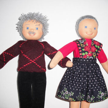 Waldorf doll family, Grandma and Grandpa, Rag doll family, Cloth doll family, Handmade, FREE SHIPPING