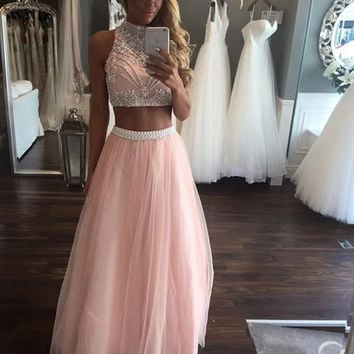 Vestidos De Fiesta Pink 2 Piece Prom Dresses 2017 Long Beaded Girls Sparkly Graduation Party Dress High Neck Evening Gowns