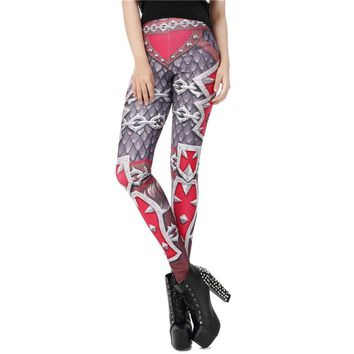 Armor Women's Red & Gray Slim High Waisted Elastic Printed Fitness Workout Leggings