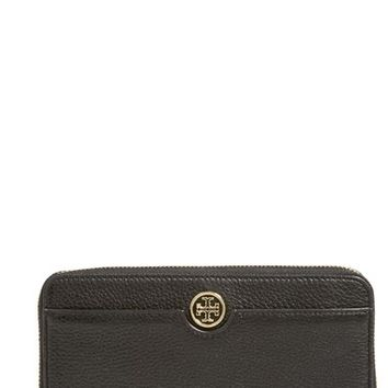 Women's Tory Burch 'Robinson' Pebbled Leather Continental Wallet