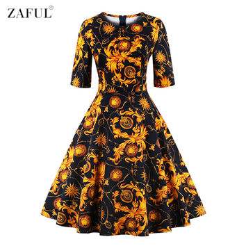 ZAFUL Women O Neck Half Sleeves A-line 50s 60s Audrey Vintage Dress Tropical Ethnic Floral Feminino Vestidos S~4XL Party dresses