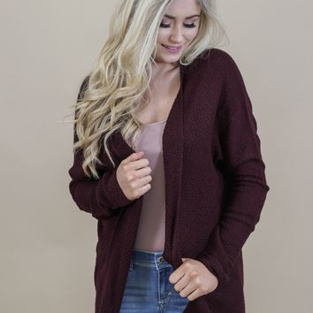 Lace Back Dolman Cardigan, Burgundy