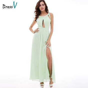 Dressv mint green halter neck evening dress sleevesless split-front a line criss-cross straps long evening dresses