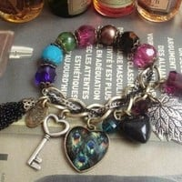 Classic vintage colorful stone bracelet with charms - Like Love Buy