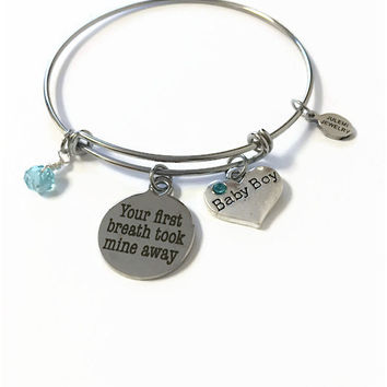 "Baby Boy Expandable Bangle Its a Boy Bangle Bracelet New Mom Charm Bangle ""Your First Breath Took Mine Away"" Adjustable Stacking Wire Bangle"