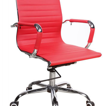Red Upholstered Back, Adjustable Office Chair