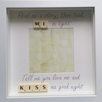 Childs wall decor photo frame personalised read me a story tuck me in tight scrabble family White box frame keepsake frame handmade