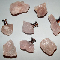 Custom Raw Rose Quartz Gemstone Drawer Pull Knobs