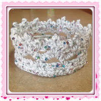 White Sequin Princess Crown Infant Tiara, Baby Girl Crown Easter Tiara MORE COLORS Sizes Newborn to Toddler Spring Fashion photo prop