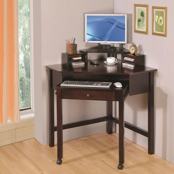 Espresso finish wood corner desk with slide out keyboard tray and monitor stand