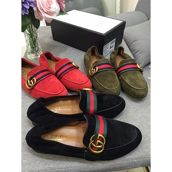 Gucci Women's Suede Leather Fashion Sneakers Shoes